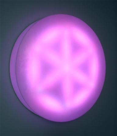 Hexad, 2002 Plexiglas, LEDs, custom software, electrical hardware 60 x 60 x 9 inches Edition of 3