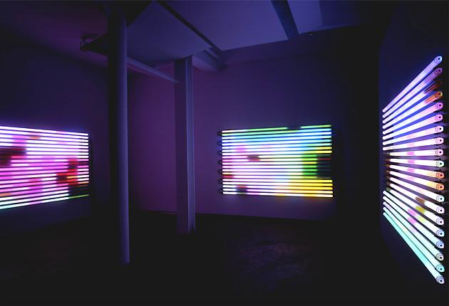 Chasing Rainbows, 2004 LEDs, custom software, electrical hardware 3 units, each 60 x 96 x 4 inches