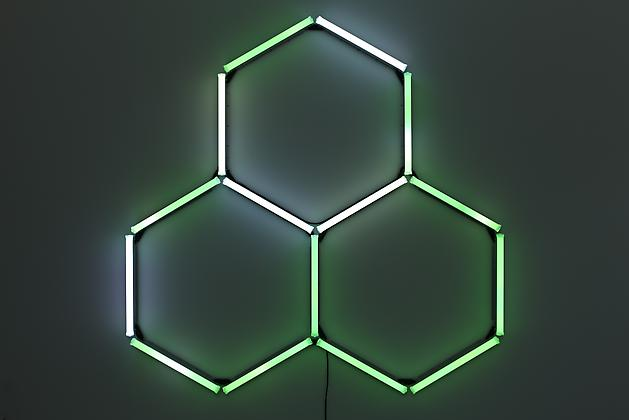 Trihex, 2010 15 2' LED bulbs, custom software, electrical hardware 88 x 88 x 4 inches Series of 3