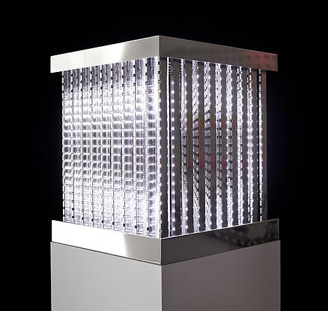 Cube, 2011 White LEDs, mirror finished stainless steel, custom software, electrical hardware 24 x 20 1/2 x 21 1/4 inches  Edition of 3