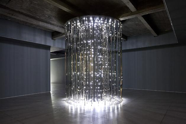 Cylinder, 2011 White LEDs, mirror finished stainless steel, steel, custom software, electrical hardware 12 x 9 x 9 feet