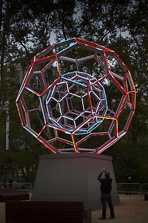 Buckyball, 2012 LEDs, custom software, electrical hardware, metal armature, sculptural base 360 x 240 x 240 inches Unique Installation: Madison Square Park, New York, NY