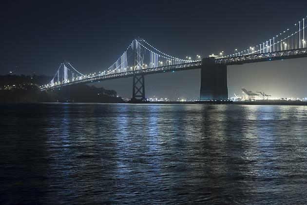 The Bay Lights, 2013 LEDs, custom software Site specific installation: The Bay Bridge, San Francisco, CA