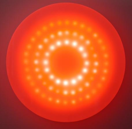 Sunburst, 2002 Plexiglas, incandescent light bulbs, custom software, electrical hardware 60 x 60 x 9 inches Edition of 3