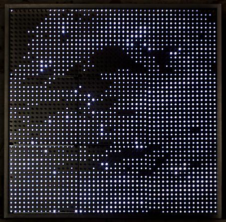 Devil's Playground (White), 2005 White LEDs, aluminum, custom software, electrical hardware 25 x 25 x 4 1/4 inches Edition of 3