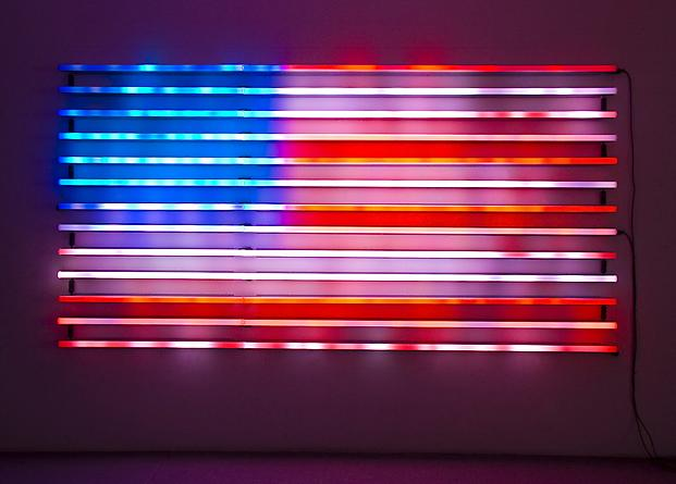 Flag, 2008 LEDs, custom software, electrical hardware 74 1/2 x 144 x 4 inches