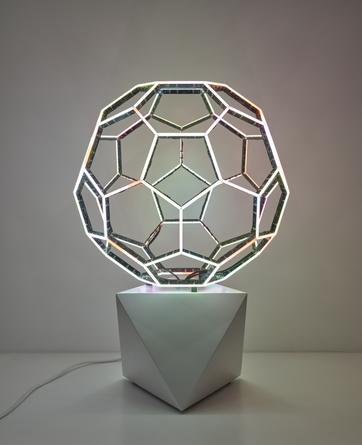 Buckyball, 2015 LEDs, custom software, electrical hardware, base 29 x 19 3/4 x 19 3/4 inches Edition of 8 SGI2853
