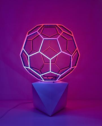 LEO VILLAREAL Buckyball, 2013 LEDs, custom software, electrical hardware, base 29 x 19 3/4 x 19 3/4 inches edition of 8 SGI2853