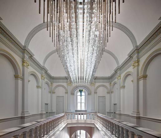 Volume (Renwick), 2015 Site specific installation: The Renwick Gallery, Smithsonian American Art Museum, Washington, D.C. White LEDs, mirror finished stainless steel, custom software, electrical hardware