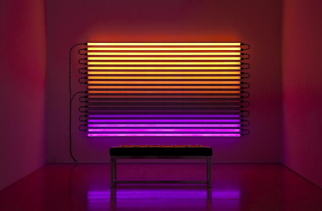 Chasing Rainbow, 2004 LEDs, custom software, electrical hardware 60 x 96 x 4 inches