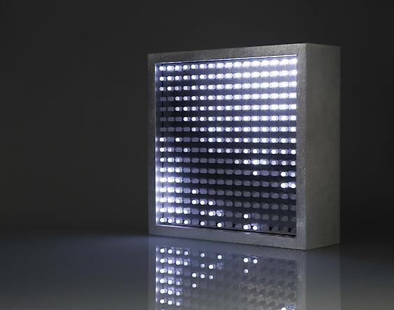 Bulbox 3.0, 2004 White LEDs, custom software, electrical hardware, aluminum 9 x 9 x 3 inches Edition of 25