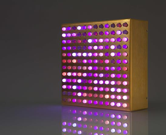 Bulbox 4.0, 2007 LEDs, gold plated aluminum, custom software, electrical hardware 9 x 9 x 3 inches Edition of 25