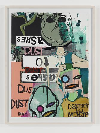 Ashes to Ashes, 2010 Acrylic and collage on paper 47 x 35 inches GLG1500