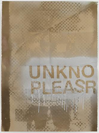 Unkno Pleasr (gold), 2011 Chrome spray paint on paper 30 x 22 inches GLG1838