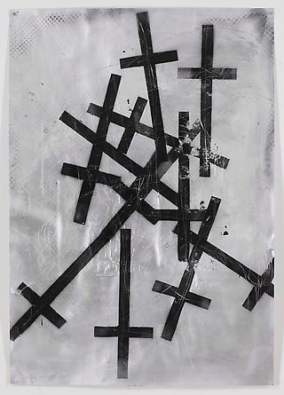 Swords I, 2011 Acrylic & spray paint on paper 66 1/2 x 47 inches GLG2091