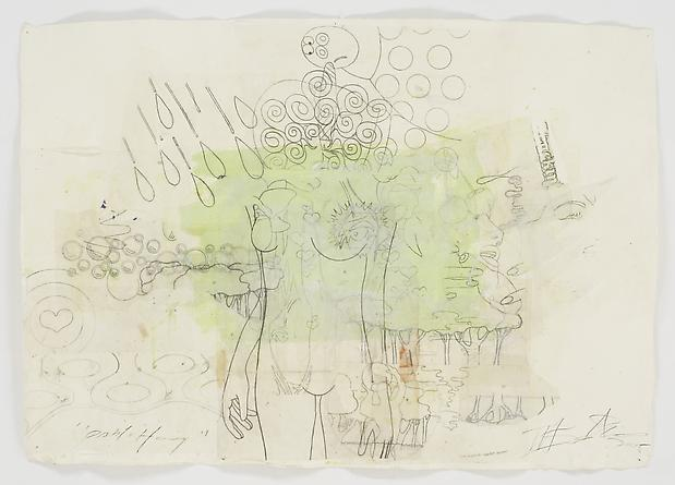 Pablo Honey, 2005 Acrylic, graphite and collage on handmade Khada paper 39 x 52 inches GLG2429