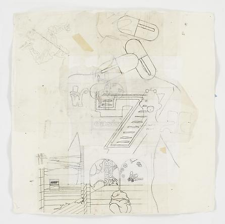 DxUxIxi Fables of the Reconstruction (no. 032), 2006 Pencil and collage on vellum 27 x 27 inches GLG437