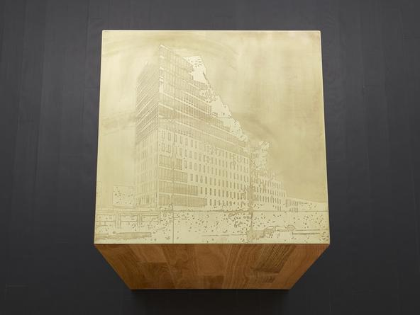 Building #2, 2014 Etched brass, oak plinth 32 x 23 1/2 x 22 1/2 inches SGI2800