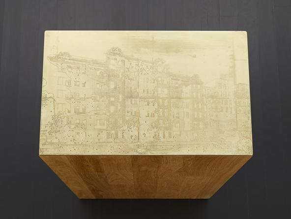 Building #3, 2014 Etched brass, oak plinth 32 x 13 1/2 x 21 1/2 inches SGI2801