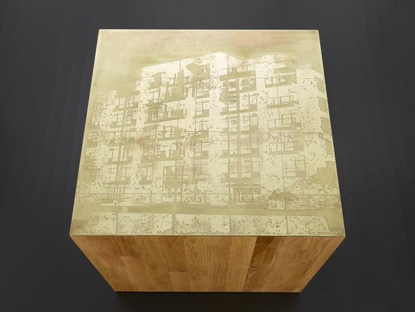 Building #1, 2014 Etched brass, oak plinth 32 x 36 x 36 inches SGI2802