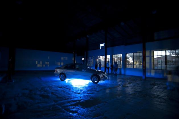 The Copenhagen Interpretation, 2010 Installation: C-Class Mercedes, neon, Albert Ayler CD Variable dimensions SGI2809