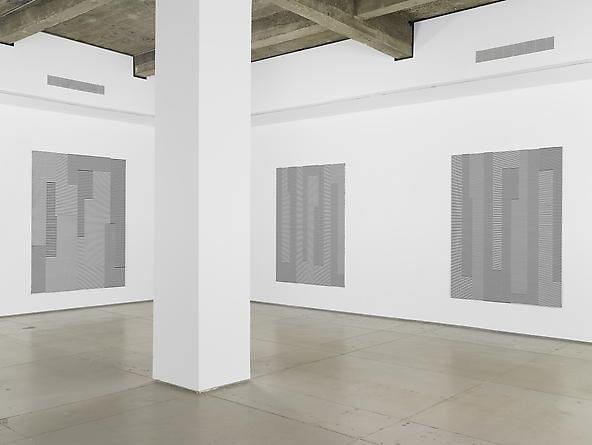 Installation view: Michael Scott, Black and White Line Paintings 1989-2011