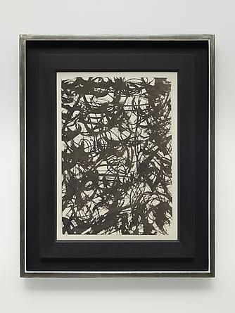 MARK TOBEY Untitled, 1957 Sumi ink on paper mounted on paperboard  15 ¾ x 11 inches