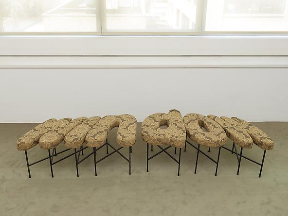 Window Seat (The Window Always Wins), 1997 Upholstered cushions, painted metal 19 x 67 x 30 inches GLG2410