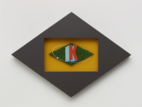 Doctor K, 1986 Wood, laminate, plexiglass, astroturf, acrylic paint 14 x 20 x 2 inches GLG2419