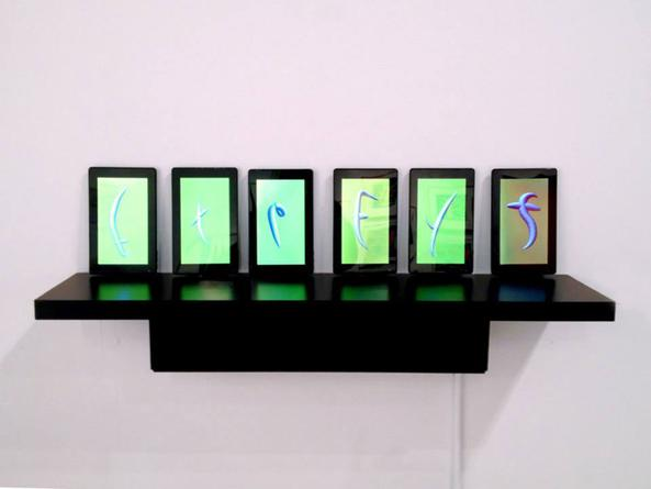 Expect Delays, 2014 Digital animation on six tablets with shelf 13 x 36 inches Edition of 5 SGI2752