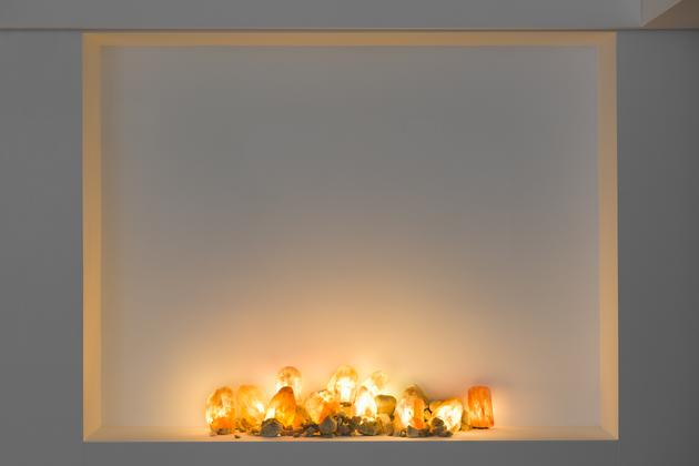 What, 2014 Carved salt crystals, river rocks, electrical wiring  Dimensions variable SGI2861