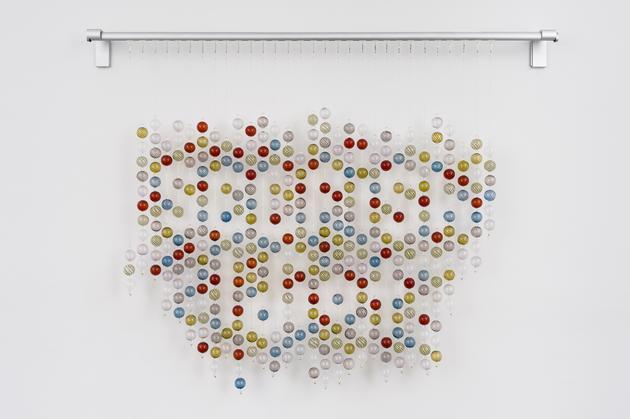 Selfish Idiot, 2014 Blown glass, beads, monofilament, metal rod 46 x 35 x 3 inches Unique SGI2862