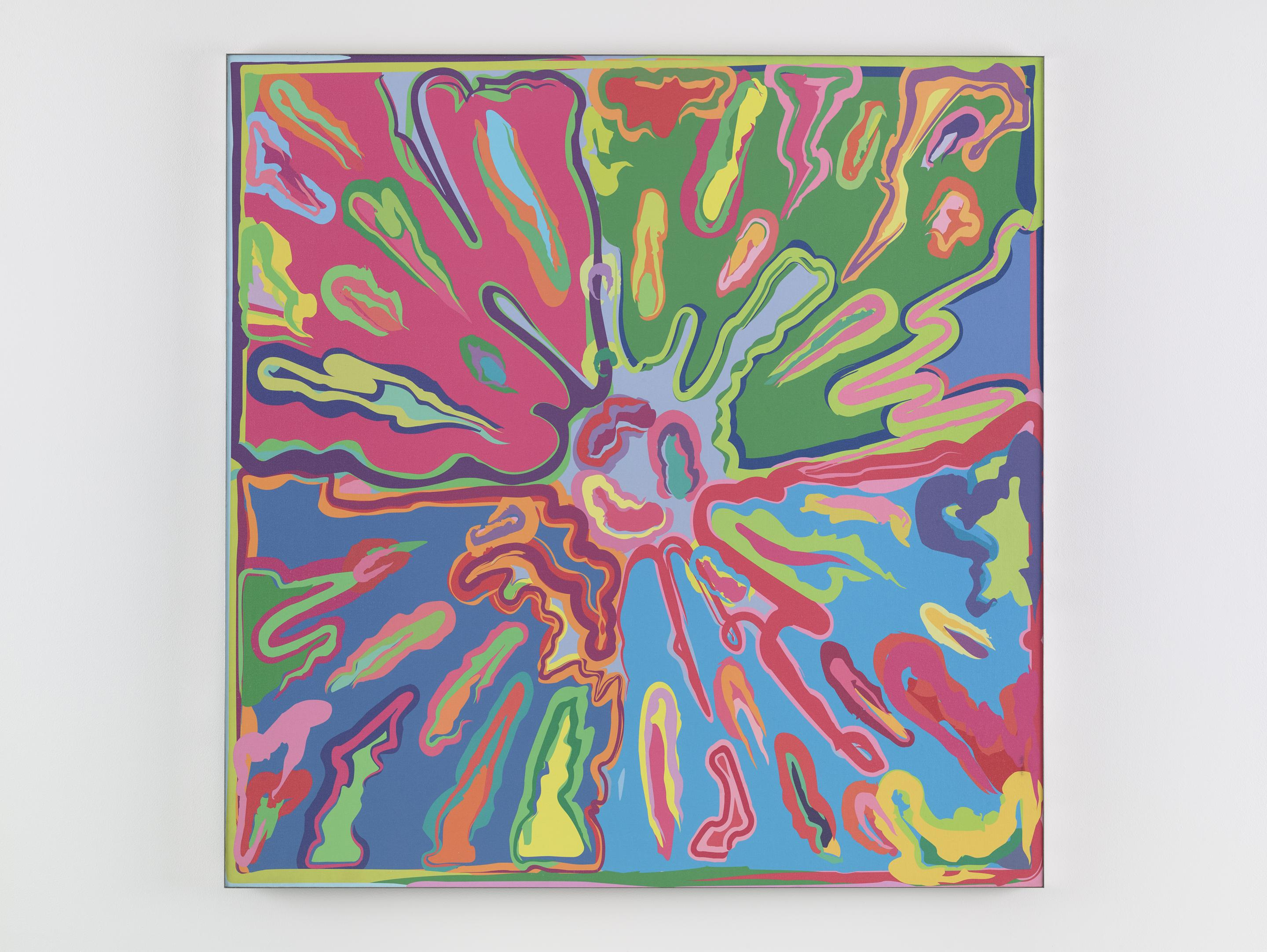 PETER HALLEY Explosion #9 (Prototype), 2015 Screenprint monotype on canvas, mounted to aluminum Dibond, in metal frame 42 x 42 inches #9 from a series of 12 unique variants SGI3208