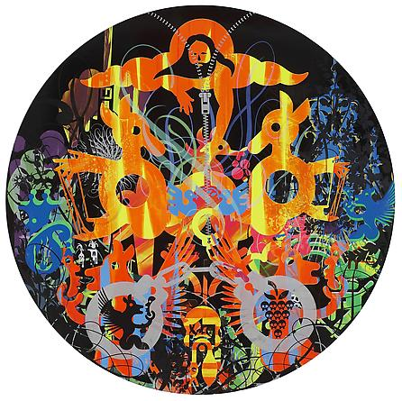 RYAN McGINNESS All Your Earth Gods, 2011 Oil & acrylic on wood panel 48 inches diameter Courtesy Ryan McGinness Studio