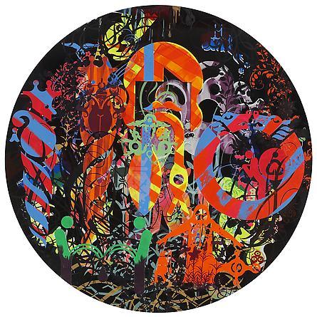 RYAN McGINNESS Secret Sorrow, 2011 Oil & acrylic on wood panel 48 inches diameter Courtesy Ryan McGinness Studio