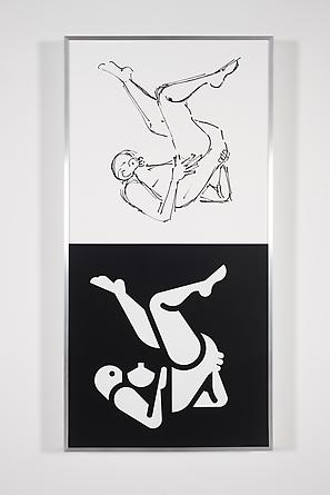 Women Sketch & Solution (Brittany 5, Vertical), 2012 Acrylic on wood in artist's frame 48 x 24 inches GLG2138