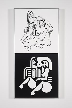 Women Sketch & Solution (Anna Sweet + Trish + Roma 2, Vertical), 2012 Acrylic on wood in artist's frame 48 x 24 inches GLG2141
