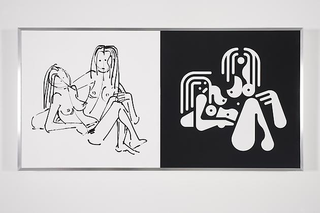Women Sketch & Solution (Anna Sweet + Roma 2, Horizontal), 2012 Acrylic on wood in artist's frame 24 x 48 inches GLG2143