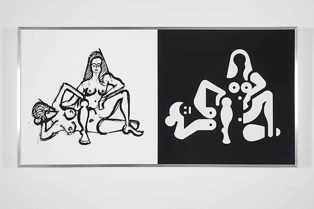 Women Sketch & Solution (Helena + Anna Catherine 1, Horizontal), 2012 Acrylic on wood in artist's frame 24 x 48 inches GLG2144