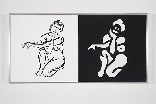 Women Sketch & Solution (Brittany 2, Horizontal), 2012 Acrylic on wood in artist's frame 24 x 48 inches GLG2145