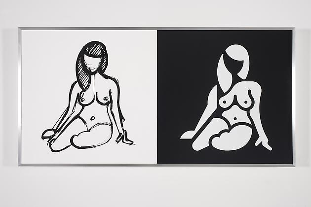Women Sketch & Solution (Anna 3, Horizontal), 2012 Acrylic on wood in artist's frame 24 x 48 inches GLG2146