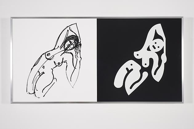 Women Sketch & Solution (Christy 1, Horizontal), 2012 Acrylic on wood in artist's frame 24 x 48 inches GLG2149