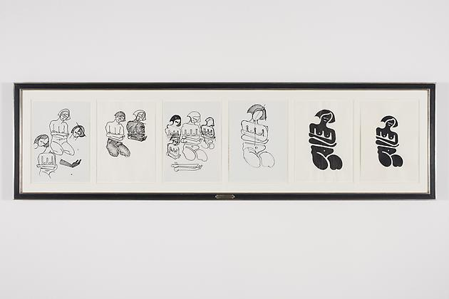 Women Sketch Process Drawings (Buffie 1), 2012 Ink & acrylic on various papers in artist's frame 24 3/4 x 88 3/4 inches GLG2151