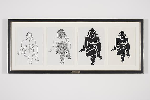 Women Sketch Process Drawings (Alex 1), 2012 Ink & acrylic on various papers in artist's frame 24 3/4 x 61 1/4 inches GLG2154