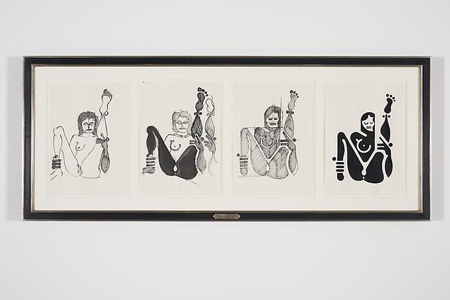 Women Sketch Process Drawings (Joanna 4), 2012 Ink & acrylic on various papers in artist's frame 24 3/4 x 61 1/4 inches GLG2156
