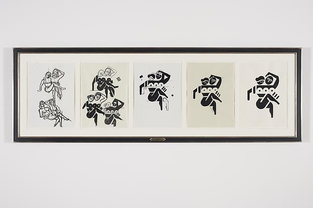 Women Sketch Process Drawings (Katlyn & Claire 1), 2012 Ink & acrylic on various papers in artist's frame 24 3/4 x 75 inches GLG2157