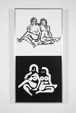 Women Sketch & Solution (Katlyn + Claire 2, Vertical), 2012 Acrylic on wood in artist's frame 48 x 24 inches GLG2162