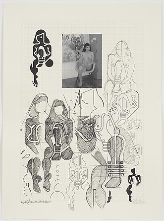 Women Sketch Process (Yesenia Studio NYC Oct. 18th 2010), 2012 Ink on custom graph paper 30 x 22 inches GLG2168