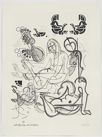 Women Sketch Process (Suzy Mae Studio NYC Nov. 29th 2011, 2), 2012 Ink on custom graph paper 30 x 22 inches GLG2169