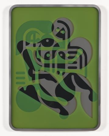 RYAN McGINNESS Women (Forms + Surfaces 8), 2012 Etched mirror polished stainless stealing colored glass 30 1/4 x 22 inches SGI3330